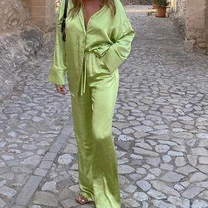 Green Satin Set
